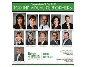 BHGRE Gary Greene 2017 Top Performers